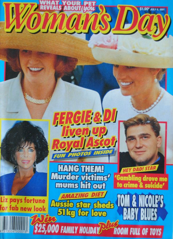 VINTAGE WOMAN'S DAY 9 JULY 1991 PRINCESSES DIANA (LADY DI) & SARAH (FERGIE)