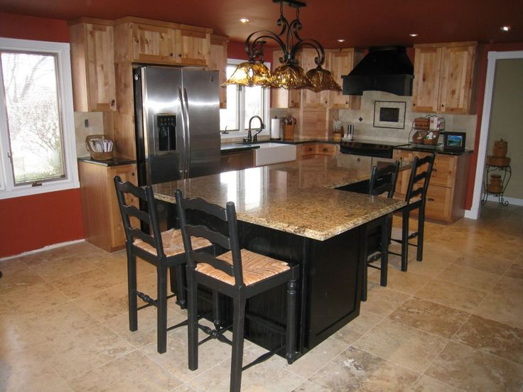 Travertine Countertops Natural Knotty Alder Perimeter, Black Maple, L-shaped