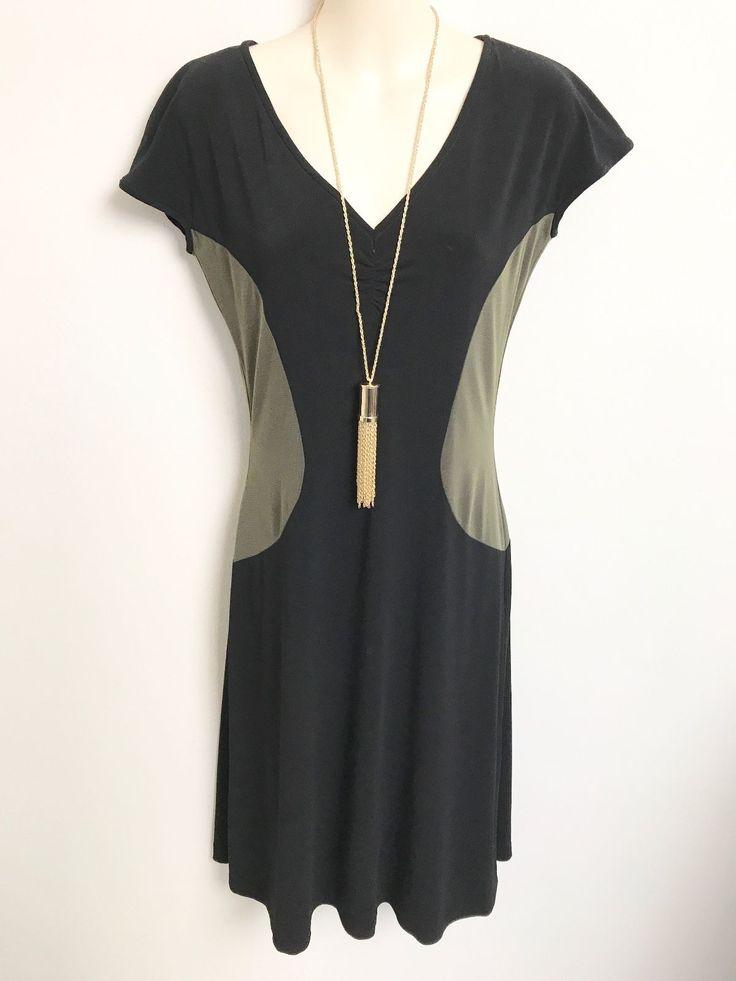 STUNNING LEONA EDMISTON FROCKS KHAKI BLACK CAP SLEEVE DRESS SZ XS | eBay