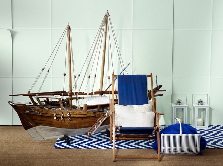 Divine DIY Nautical Decoration Combined With Creative Chair And Two Tones Rug