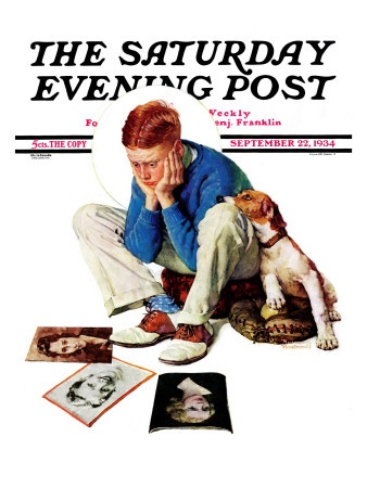 """""""Boy Gazing at Cover Girls"""" Saturday Evening Post Cover, September 22,1934  Norman Rockwell"""
