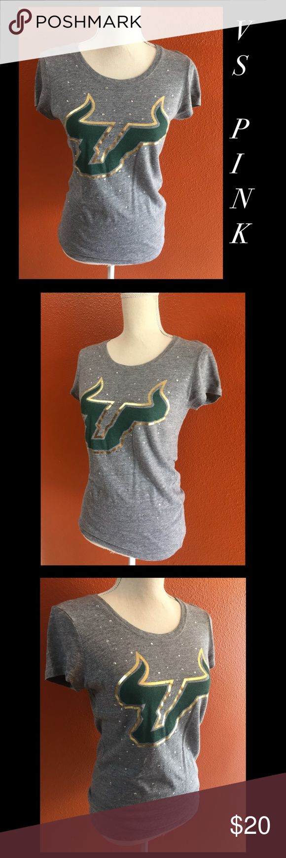 Victoria's Secret Pink USF Bulls Shirt. Size M. VS Pink USF Bulls t shirt. Fitted cut. Cute little rhinestones. It's ore loved and has some slight lettering imperfections by still really cute. Gold lettering and dog logo on back. Go Bulls!  University of South Tampa PINK Victoria's Secret Tops Tees - Short Sleeve