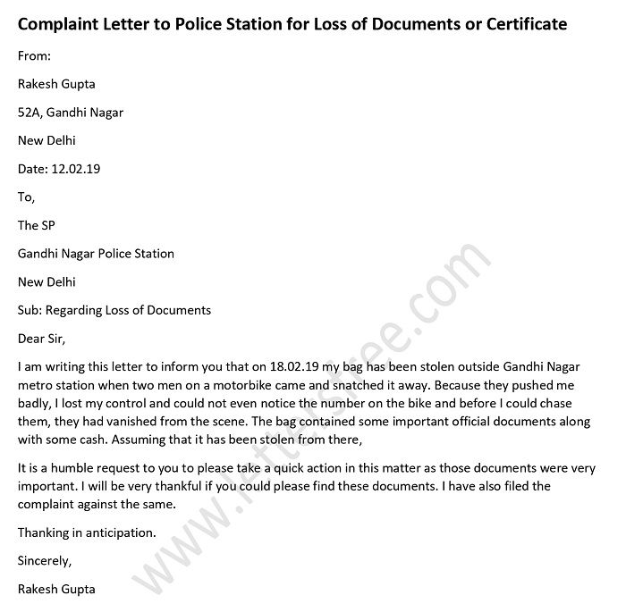 how to write complaint letter to police for theft of mobile phone