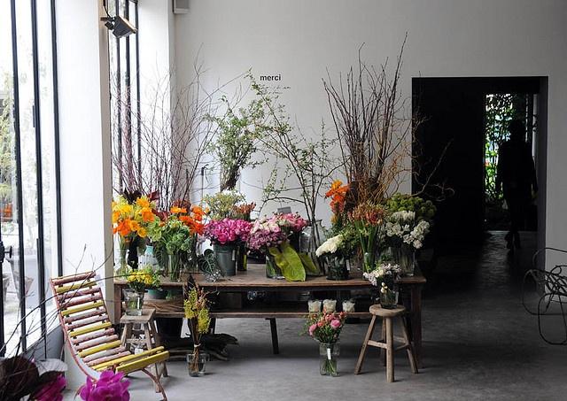 flowers at merci in paris