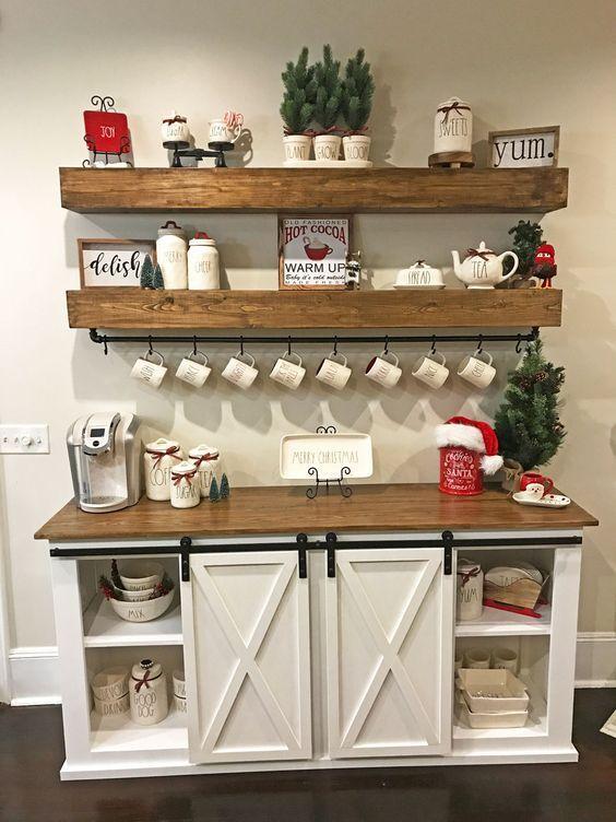 christmas decor ideas coffee bar at home