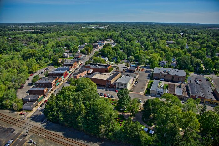 Aerial photo of downtown Chesterton, Indiana
