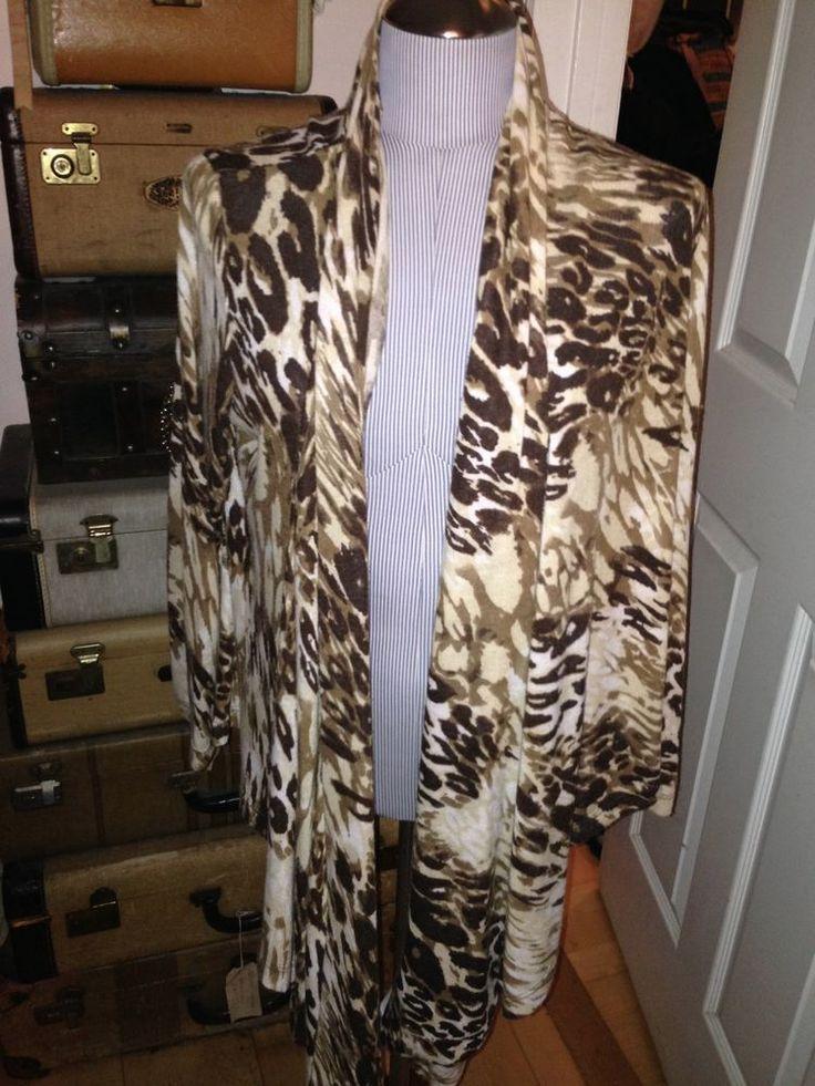 rebecca elliot wonderful leopard spot long open drape cardigan shawl sweater L  #rebeccaelliot #openshawlcardigan