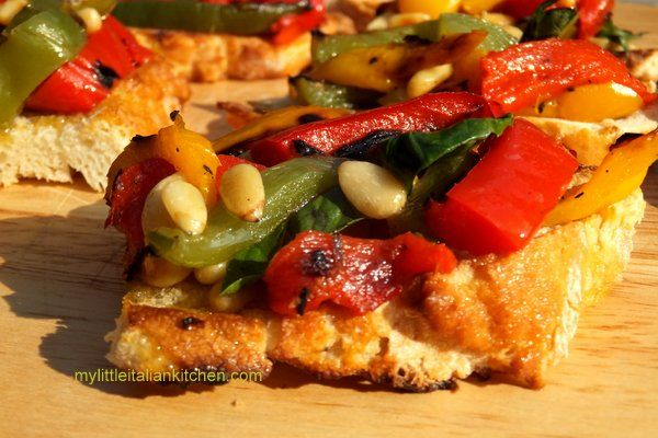 bruschetta with roasted peppers and pine nuts