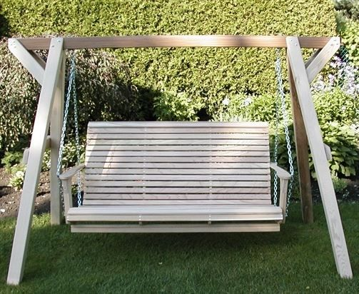 Family Porch Swing With Frame: This Comfortable Bench Sits Three Adults Or  Five Children (