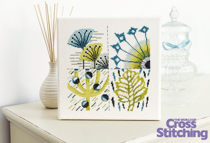 Floral fantasy - contemporary cross stitch. Create a piece of modern art for your home with this striking yet simple design - no fractional stitches! Only in issue, 226, of The World of Cross Stitching magazine