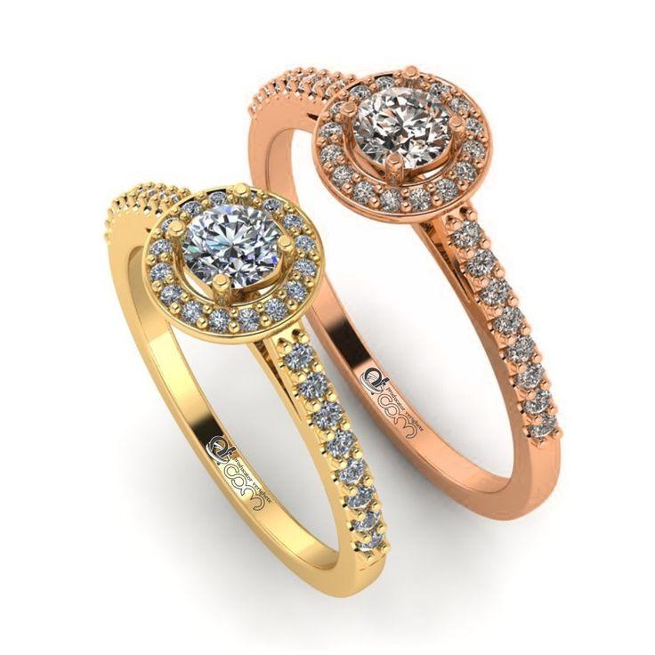 Inel de logodna HALO aur galben/roz