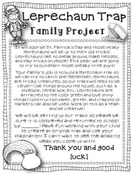 Leprechaun Trap FREEBIE {Letter to Send Home}. This would be a cute simple machine project!