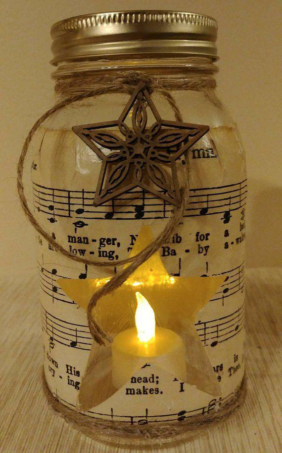 Away In A Manger Mason Jar Shabby Chic Rustic Lighted Etsy Christmas Mason Jars Christmas Jars Mason Jar Decorations