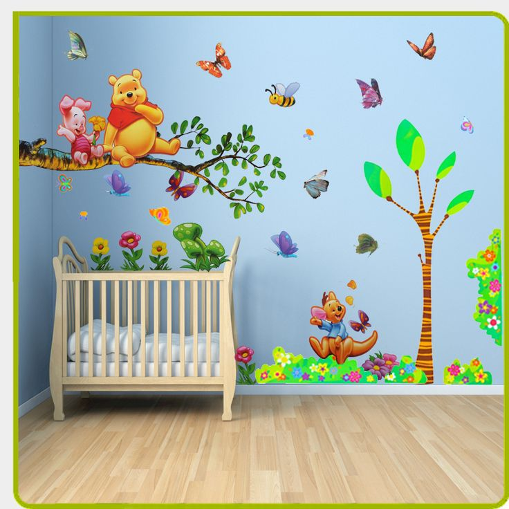 Baby room painting ideas winnie pooh them winnie the for Baby room wall decoration