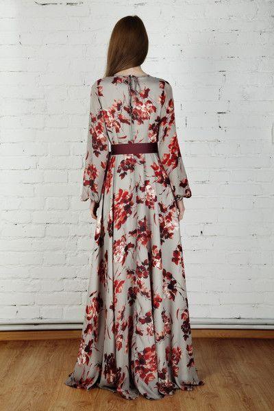 Modest Floral Print Long Sleeve Maxi Dress - Modest floor length dress