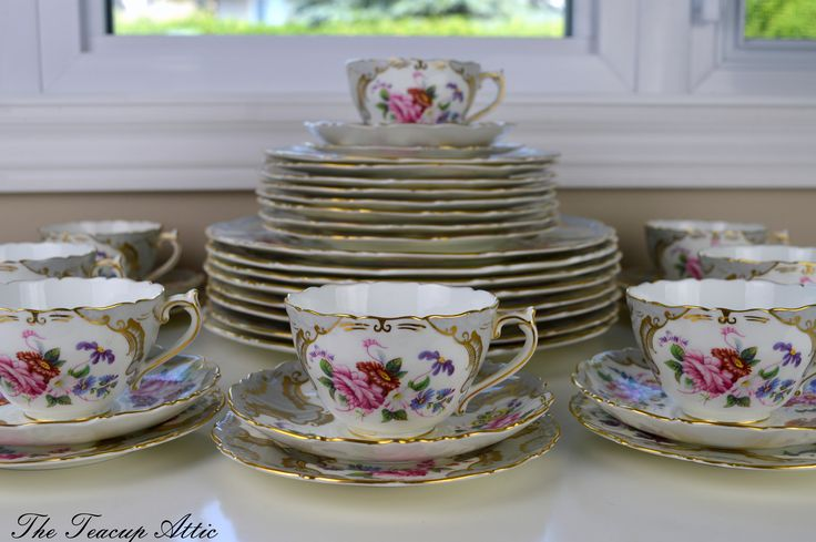 Set of 8 Coalport Grey Embossed Rosemary Vintage Complete Place Settings, Wedding Gift, Vintage Dinnerware, Replacement China, ca. 1926 by TheTeacupAttic on Etsy https://www.etsy.com/listing/545231947/set-of-8-coalport-grey-embossed-rosemary