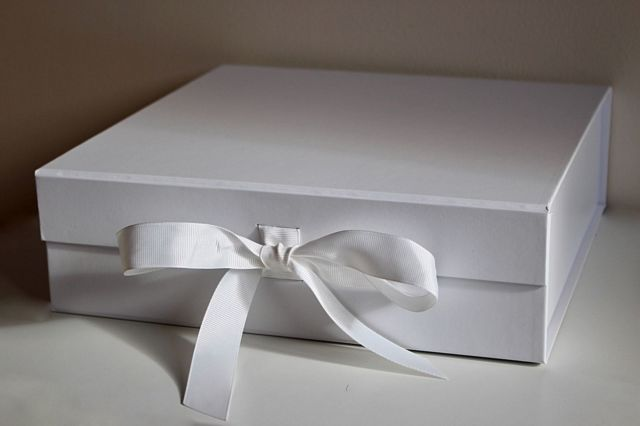 Luxury Large White Gift Box Ribbon Magnetic Lid Wedding Christmas