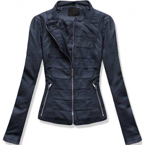 Dámská bunda Thora tmavě modrá – modrá – dámská kožená bunda vhodná na každou sezónu – zapínání na zip – přední kapsy – zajímavé vzory uprostřed bundy Střih: bez kapuce Trend: bez vzoru Materiál: 100% …
