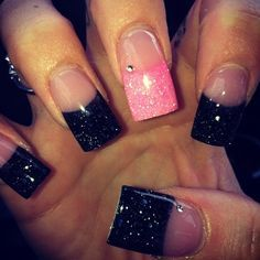 Black And Pink Glitter Acrylic Nails