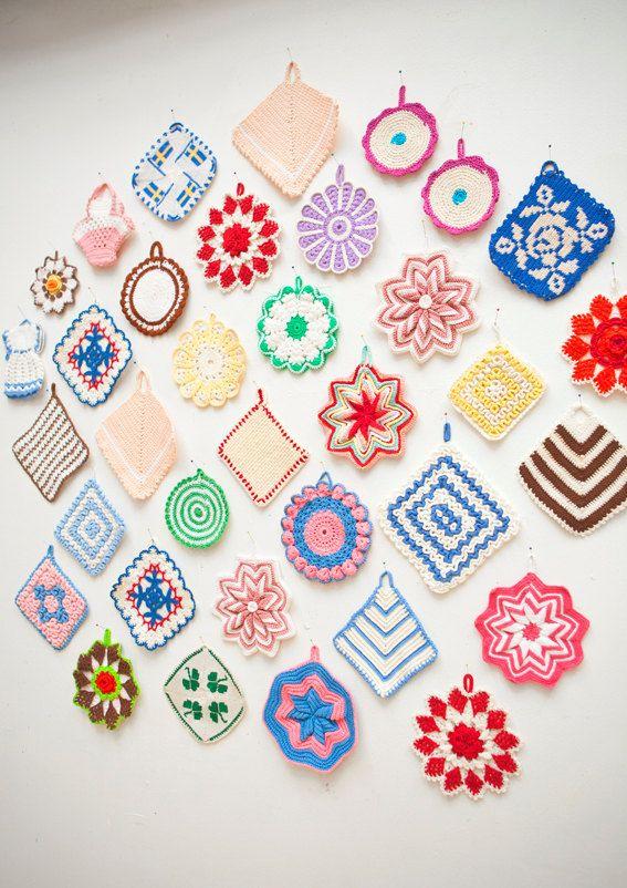 colorful crochet potholders