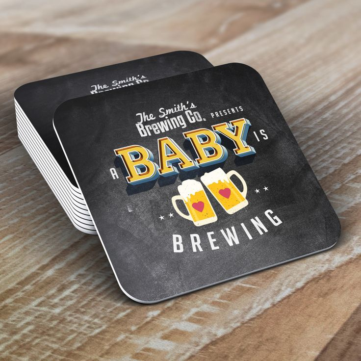 Personalized Coaster, Baby is brewing, Coed baby shower invitation- Beer baby shower invitation- couples baby shower  -  BBQ, party decor by LyonsPrints on Etsy https://www.etsy.com/listing/243942559/personalized-coaster-baby-is-brewing