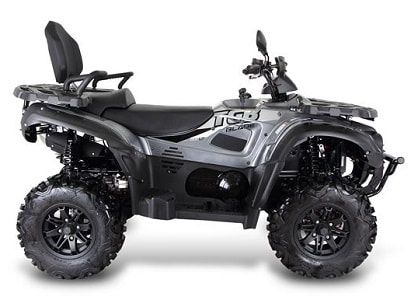 Side view of silver 600 LT deluxe farm quad. The TGB farm quad range offers an excellent choice of specifications and value for money. For more information or a quotation, please visit our website http://www.fresh-group.com/farm-quad.html or call us on 0845 3731 832