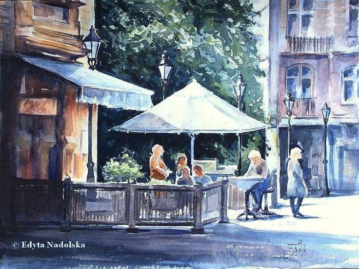 Edyta Nadolska Watercolor Art - 'U-7 Pub', Wroclaw, Poland, 2016