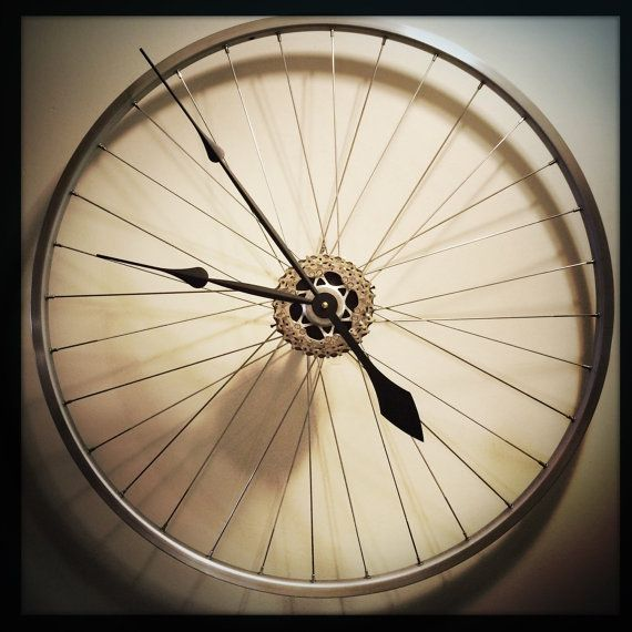 Bike Wheel Clock, Large Wall Clock, Unusual Clock, Steampunk Modern Industrial Bicycle Wheel Clock, Cycling Gift