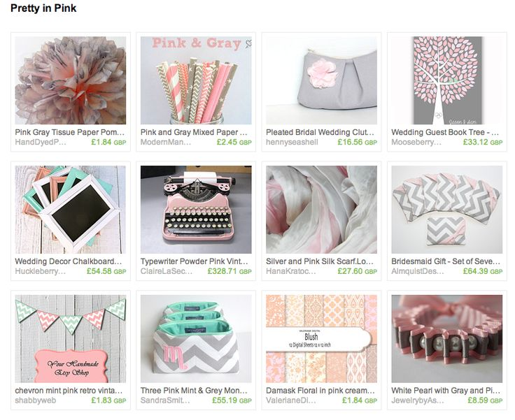 Pretty in Pink Wedding Treasury featuring soft pink and grey shades, bridesmaid gifts, pink typewriter guest book, and wedding invites. https://www.etsy.com/uk/treasury/NDQxNDI2NTF8MjcyMzE1NzU0Mw/pretty-in-pink?ref=af_circ_tre