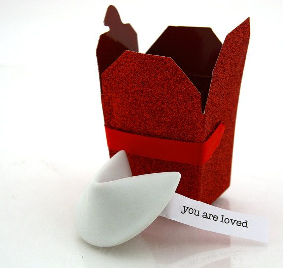 valentines day Porcelain fortune cookie with by LennyMud on Etsy, #valentinesdaygifts