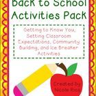 Back to School:  Getting to Know You Activities Pack