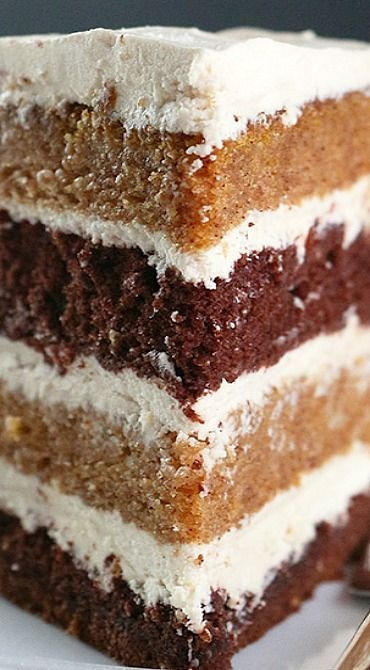 Pumpkin Chocolate Layer Cake with Whipped Brown Sugar Frosting
