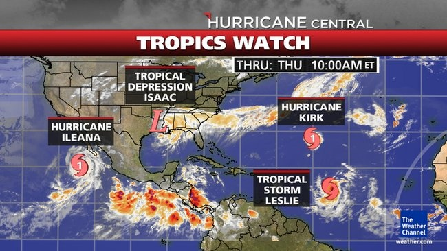 Tracking Projected Path of Hurricane Kirk, Hurricane Ileana, Tropical Storm Leslie and Tropical Storm Isaac