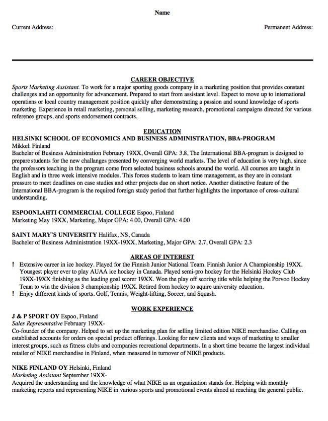 Sample Resume Sports Marketing Assistant - http\/\/resumesdesign - cnc operator resume