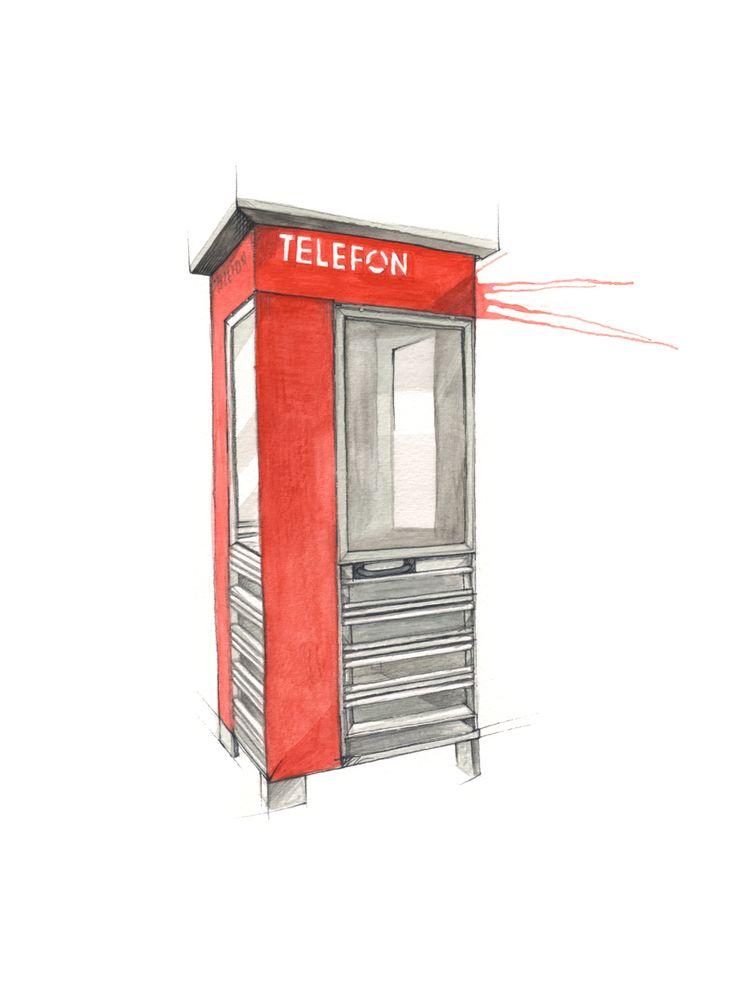 """Telefonkiosk"" (Norwegian phone booth)  Copyright: Emmeselle.no  Illustration by Mona Stenseth Larsen"