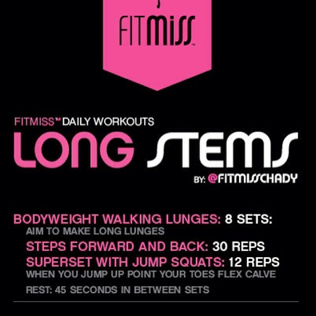#fitmiss Workout of the Day!! Long Stems by @Chad Young Debs!! - @iamfitmiss- #webstagram