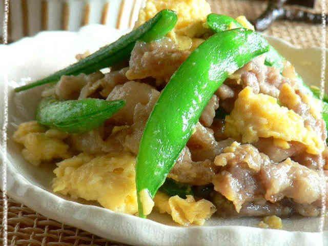 ◆スナップえんどうと卵の豚肉炒め◆の画像