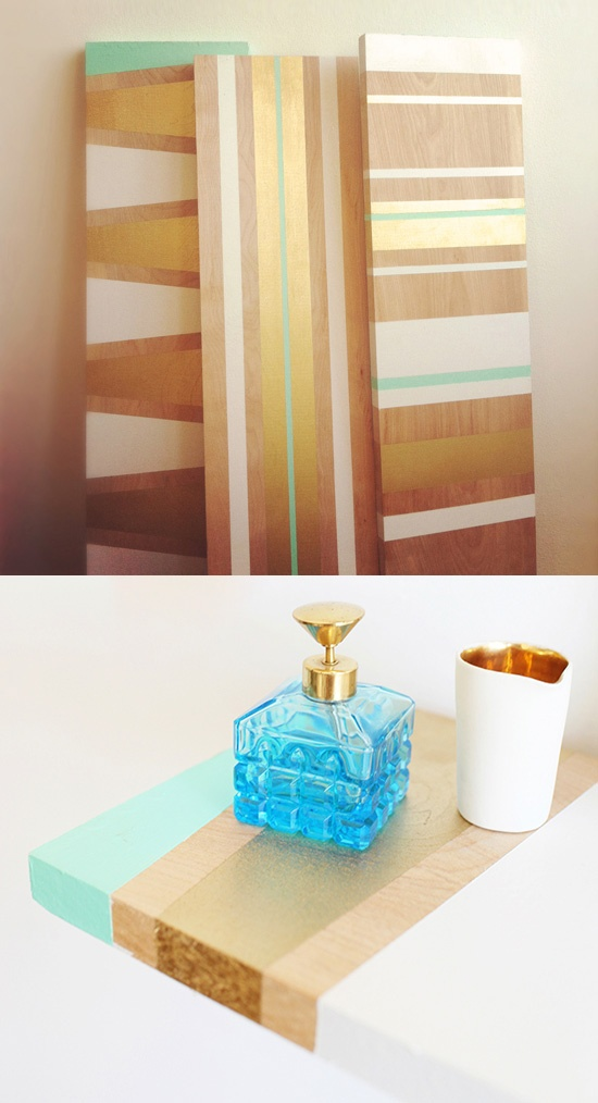 DIY: Mint + Gold painted shelves.  Oh yeah my shelves will get this treatment.