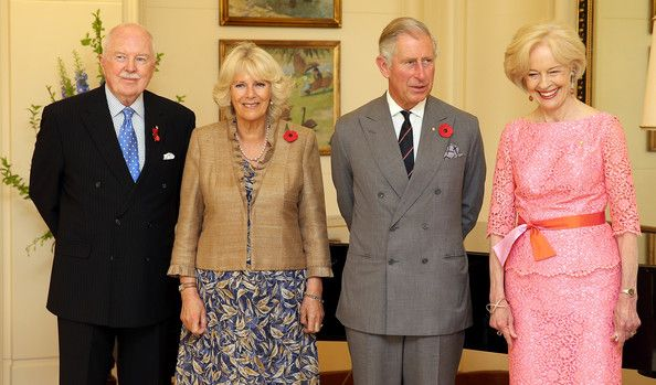 Prince Charles, Prince of Wales, Camilla, Duchess of Cambridge pose with Govenor General of Australia Quentin Bryce and Michael Bryce at Government House on November 10, 2012 in Canberra, Australia