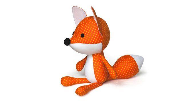 Bastel dir deinen eigenen Knuddel-Fuchs!  Dieser liebe fuchs ist 30 cm hoch, wenn er fertig ist.  Die Nähvorlage enthält eine leicht verständliche Bastelanleitung mit vielen Abbildungen.