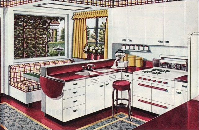 "As part of the New Freedom Gas Kitchen advertising campaign, the American Gas Association publish this kitchen design called the ""Breakfast Booth Kitchen."" The burgundy, gray, and gold color scheme was very new in 1945 and departed from many of the old standbys.    I want a booth!"