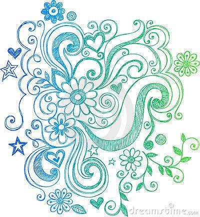 Sketchy Doodle Flower and Swirls Illustration by Blue67, via Dreamstime