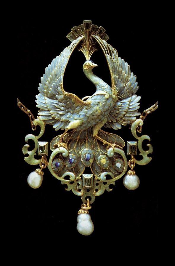 Philippe Wolfers   Art Nouveau Pendant (n.d. ~ETS #artnouveau #sublimejewels #peacock
