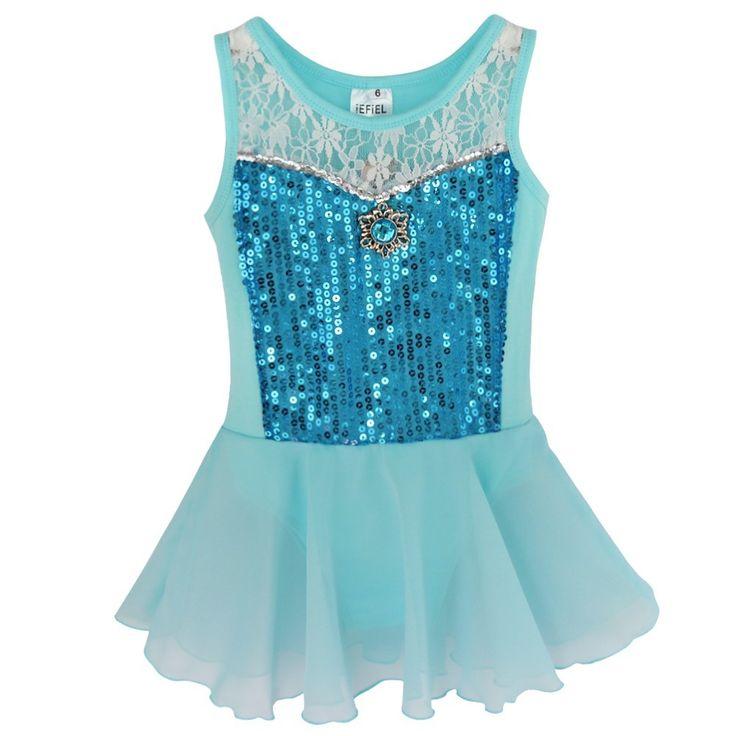 iEFiEL Blue Girls Princess Tutu Ballet Dance Skirt Leotard Dress Fancy Costume…