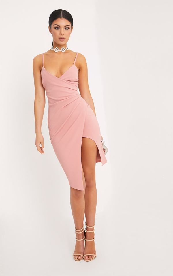 bb43e5a882d A sexy rose crepe midi dress UK for wedding guest.