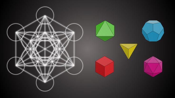 Metatrons Wu00fcrfel beinhaltet die platonischen Ku00f6rper der heiligen Geometrie. (Tetraeder, Hexaeder ...