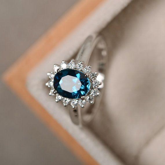 London blue topaz ring sterling silver blue gemstone by LuoJewelry