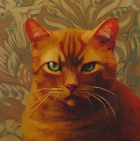 Serious painting of serious cat, painting by artist Diane Hoeptner