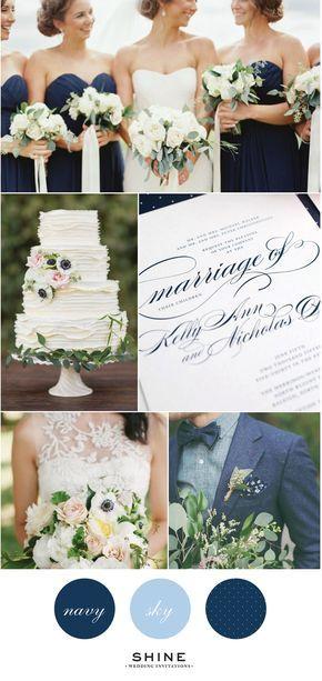 Elegant Navy Wedding Inspiration - Navy Bridesmaids Dresses, Lace Wedding Dress, Navy Suit, Chambray, Anemone Bouquet, Ruffle Cake, Three Teir Cake, White Garden Roses, Calligraphy Wedding Invitations