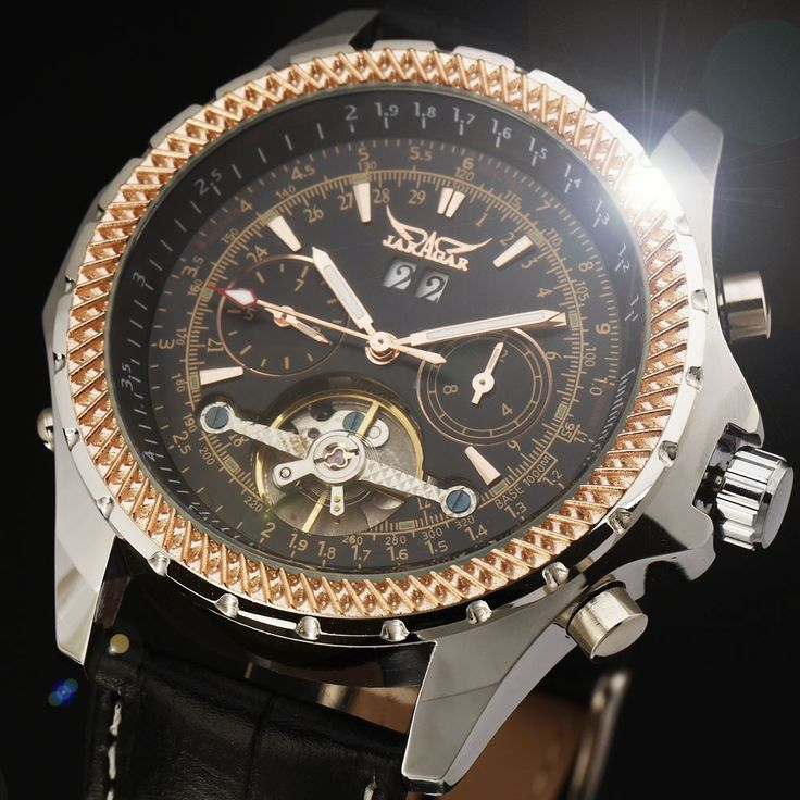 28.99$  Buy now - http://die3s.justgood.pw/ali/go.php?t=2055607577 - Luxury Tourbillon Design Automatic Mechanical Watch Men Fashion Genuine Leather Band Dress Reloj Auto Date Male Gift Clock Case
